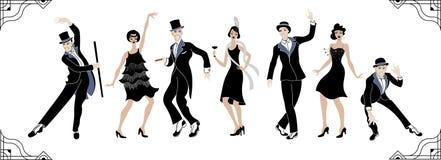 Κόμμα του Τσάρλεστον Σύνολο ύφους Gatsby Ομάδα αναδρομικών γυναίκας και άνδρα χορεύοντας Τσάρλεστον κόκκινος τρύγος ύφους κρίνων  διανυσματική απεικόνιση