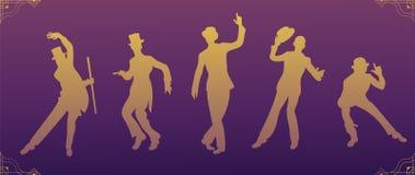 Κόμμα του Τσάρλεστον Χρυσός χορευτής σκιαγραφιών Σύνολο ύφους Gatsby Ομάδα αναδρομικού ατόμου χορεύοντας Τσάρλεστον κόκκινος τρύγ απεικόνιση αποθεμάτων