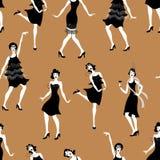 Κόμμα του Τσάρλεστον Gatsby σύνολο ύφους σχεδίων Ομάδα αναδρομικής γυναίκας χορεύοντας Τσάρλεστον κόκκινος τρύγος ύφους κρίνων απ διανυσματική απεικόνιση