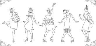 Κόμμα του Τσάρλεστον Gatsby σύνολο ύφους σχεδίων Ομάδα αναδρομικής γυναίκας χορεύοντας Τσάρλεστον κόκκινος τρύγος ύφους κρίνων απ ελεύθερη απεικόνιση δικαιώματος