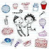 Κόμμα - το διάνυσμα doodle έθεσε Στοκ φωτογραφίες με δικαίωμα ελεύθερης χρήσης