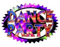 Κόμμα χορού κειμένων στον κύκλο νέου στο άσπρο υπόβαθρο Στοκ Εικόνες