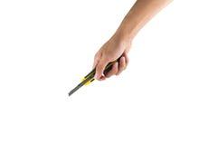 Κόπτης εγγράφου εκμετάλλευσης χεριών που απομονώνεται Στοκ Εικόνες