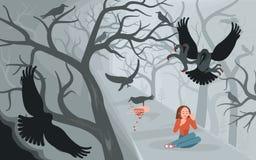 Κόρακες και μόνη γυναίκα στο τρομακτικό υπόβαθρο αποκριών απεικόνιση αποθεμάτων