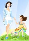 κόρη ευτυχής η μητέρα της διανυσματική απεικόνιση