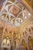 Κόρδοβα - το mudejar μέρος του καθεδρικού ναού με το ανώτατο όριο και archs Στοκ Εικόνες