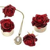 Κόσμημα και λουλούδια Περιδέραιο και κόκκινα τριαντάφυλλα στοκ φωτογραφίες
