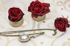Κόσμημα και λουλούδια Περιδέραιο και κόκκινα τριαντάφυλλα στοκ φωτογραφία με δικαίωμα ελεύθερης χρήσης