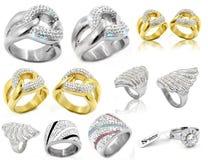 Κόσμημα - μεγάλο σύνολο δαχτυλιδιών Στοκ Εικόνα