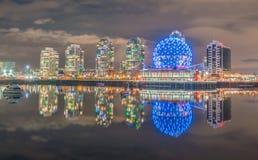 Κόσμος Βανκούβερ άποψη-επιστήμης νύχτας πόλεων στοκ εικόνα