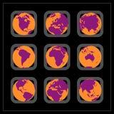 κόσμος ηπείρων κουμπιών απεικόνιση αποθεμάτων