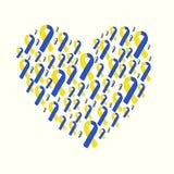 Κόσμος κάτω από την κίτρινη μπλε κορδέλλα ημέρας συνδρόμου Στοκ Εικόνα