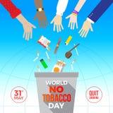 Κόσμος καμία ημέρα καπνών Πολλά χέρια ρίχνουν έξω τα τσιγάρα και άλλα στοιχεία για να καπνίσουν μακριά στα απορρίμματα ελεύθερη απεικόνιση δικαιώματος