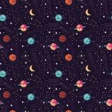 Κόσμος με το άνευ ραφής σχέδιο πλανητών και αστεριών, έναστρος νυχτερινός ουρανός κόσμου διανυσματική απεικόνιση