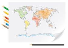 κόσμος μολυβιών χαρτών σχ&epsi Στοκ Φωτογραφία