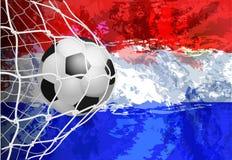 Κόσμος ποδοσφαίρου ή ευρωπαϊκό πρωτάθλημα με τα χρώματα σημαιών σφαιρών και των Κάτω Χωρών Στοκ Εικόνες