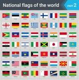 κόσμος σημαιών Συλλογή των σημαιών - πλήρες σύνολο εθνικών σημαιών Στοκ Εικόνες