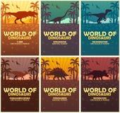 Κόσμος συλλογής αφισών των δεινοσαύρων προϊστορικός κόσμος Τ -τ-rex, Diplodocus, Velociraptor, Parasaurolophus, Stegosaurus, Tric Στοκ φωτογραφίες με δικαίωμα ελεύθερης χρήσης