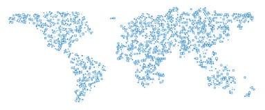 κόσμος τεχνολογίας ύφο&upsi Αφηρημένος παγκόσμιος χάρτης με τις τετραγωνικές μορφές για infographic Διανυσματική απεικόνιση ταξιδ Στοκ φωτογραφία με δικαίωμα ελεύθερης χρήσης