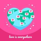 Κόσμος του φεστιβάλ αγάπης καρδιών απεικόνιση αποθεμάτων
