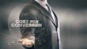Κόστος ανά μετατροπή με την έννοια επιχειρηματιών ολογραμμάτων διανυσματική απεικόνιση
