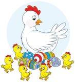 Κότα και νεοσσοί Στοκ Εικόνες