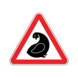 Κότα προσοχής Κίνδυνοι του κόκκινου οδικού σημαδιού Αγροτική προσοχή κοτόπουλου διανυσματική απεικόνιση