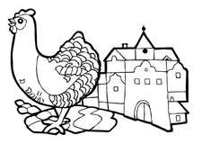 Κότα στην πόλη, σύνολο βιβλίων χρωματισμού ελεύθερη απεικόνιση δικαιώματος