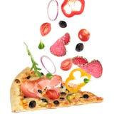 κόψτε τη φέτα πιτσών Στοκ Φωτογραφίες