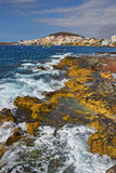Κόλπος θάλασσας της πόλης Los Cristianos, Tenerife Κανάρια νησιά tenerife Στοκ Εικόνα