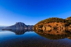 Κόλπος θεών, λίμνη Lugu Στοκ Εικόνες