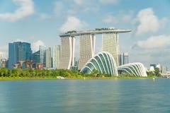Κόλπος μαρινών στην πόλη της Σιγκαπούρης με το συμπαθητικό ουρανό Στοκ φωτογραφία με δικαίωμα ελεύθερης χρήσης