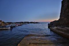 Κόλπος Riomaggiore Ιταλία ηλιοβασιλέματος Στοκ Εικόνα