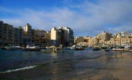 Κόλπος Spinola, ιουλιανός, τρομερός προορισμός του ST στα της Μάλτα νησιά στοκ φωτογραφία με δικαίωμα ελεύθερης χρήσης