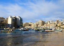 Κόλπος Spinola, ιουλιανός, τρομερός προορισμός του ST στα της Μάλτα νησιά στοκ φωτογραφία