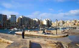 Κόλπος Spinola, ιουλιανός, τρομερός προορισμός του ST στα της Μάλτα νησιά στοκ εικόνες