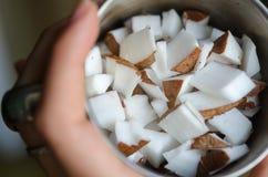 Κύβοι καρύδων σε ένα κύπελλο Στοκ Φωτογραφία