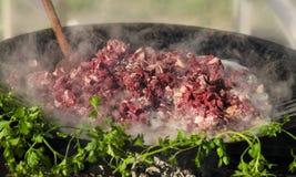 Κύβοι κρέατος που σκουραίνουν Στοκ Φωτογραφία