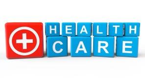 Κύβοι με το σημάδι υγειονομικής περίθαλψης ελεύθερη απεικόνιση δικαιώματος