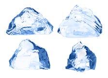 Κύβοι πάγου καθορισμένοι απομονωμένοι στο λευκό Στοκ Φωτογραφίες