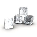Κύβοι πάγου που τίθενται στο άσπρο υπόβαθρο διανυσματική απεικόνιση