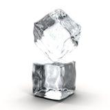 Κύβοι πάγου στην άσπρη ανασκόπηση απεικόνιση αποθεμάτων