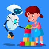 Κύβοι παιχνιδιού μοντέλων ζωγράφου μωρών ρομπότ με το διάνυσμα παιδιών απομονωμένη ωθώντας s κουμπιών γυναίκα έναρξης χεριών απει ελεύθερη απεικόνιση δικαιώματος