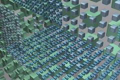 Κύβοι τεχνολογίας στο υπόβαθρο στον αέρα απεικόνιση αποθεμάτων