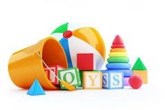 Κύβος αλφάβητου παιχνιδιών, σφαίρα παραλιών, πυραμίδα Στοκ Εικόνα