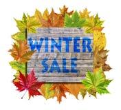 Κύβος με το φύλλο φθινοπώρου μερών γύρω και χειμερινή πώληση λέξης που απομονώνεται Στοκ φωτογραφία με δικαίωμα ελεύθερης χρήσης