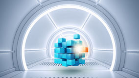 Κύβος στο εικονικό δωμάτιο Στοκ Εικόνα