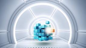 Κύβος στο εικονικό δωμάτιο Στοκ Φωτογραφίες