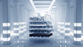 Κύβος στο εικονικό δωμάτιο Στοκ εικόνα με δικαίωμα ελεύθερης χρήσης