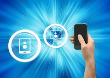 Κύκλοι εικονιδίων παραμέτρων χρήστη και τηλέφωνο εκμετάλλευσης χεριών Στοκ φωτογραφία με δικαίωμα ελεύθερης χρήσης